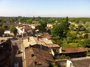 View of the village from the top of a tower at Chateau de Villandraut