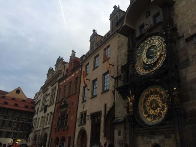 A photo of the largest working astronomical clock in the center of Prague's Old Town.
