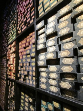 The Wand Chooses the Wizard: This is a small section of a very large series of shelves in the Harry Potter Studios. Every single person who worked on the movies, from the big name stars to the set designers to the hair stylists has a wand box on these walls.