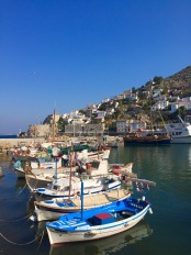 The harbor of the Greek island, Hydra, where no motorized vehicles are used.