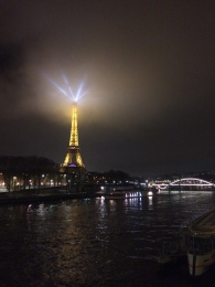 Taken in Paris, France, December 15, 2015, the Eiffel Tower along the Seine at night.