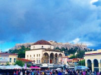 Monastiraki Square in Athens, Greece, a hub of Greek restaurants and shops.